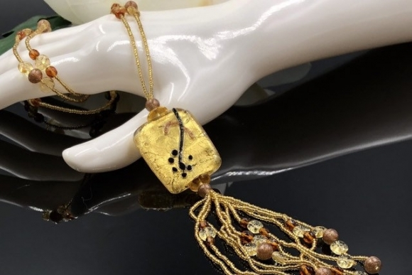 Vintage Venetian Murano Glass Tassel Necklace
