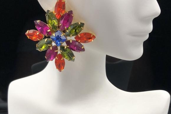 Wendy Gell Multicolor Rhinestone Earrings