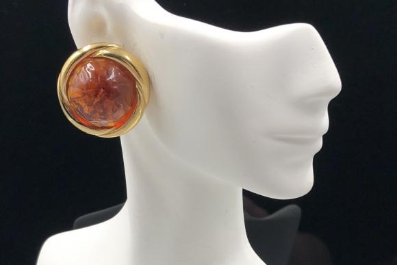 Vintage Ciner Earrings, Gripoix Glass Red Orange Cabochons