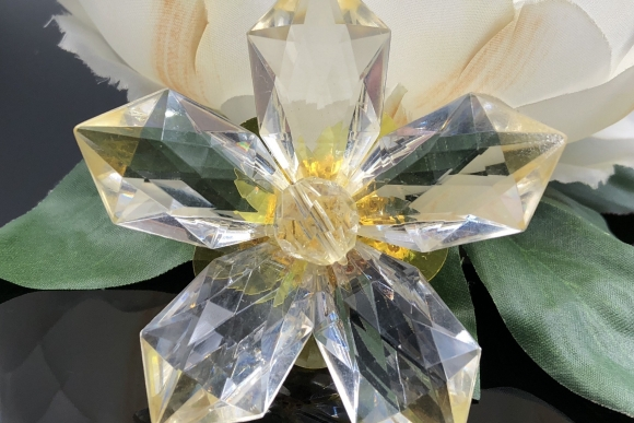 Vintage Yellow Lucite Flower Brooch