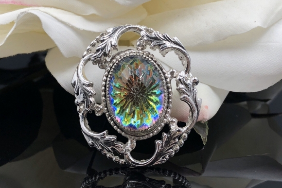 Whiting Davis Sunburst Glass Stone Silver Scroll Oval Brooch with Original Hang Tag and Original Box