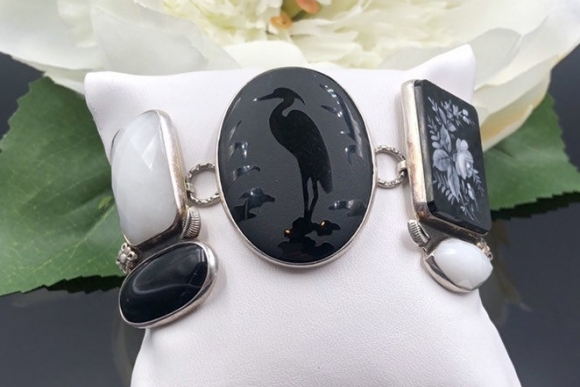 Amy Kahn Russell Sterling Black Onyx White Onyx Bracelet