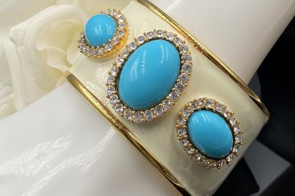 Vintage KJL Turquoise White Enamel Cuff Bracele
