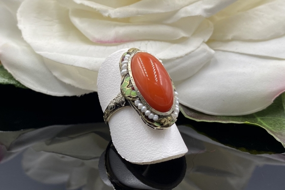 14K Antique Coral Ring, Victorian Red Coral Ring, 35th Anniversary
