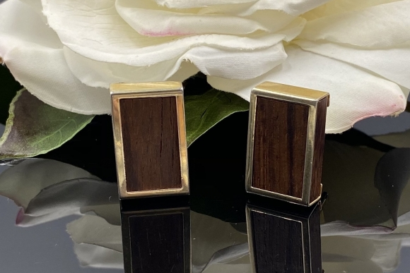 Vintage Wood Cuff Links, Rectangular Toggle Back Cuff Links, Fifth Anniversary