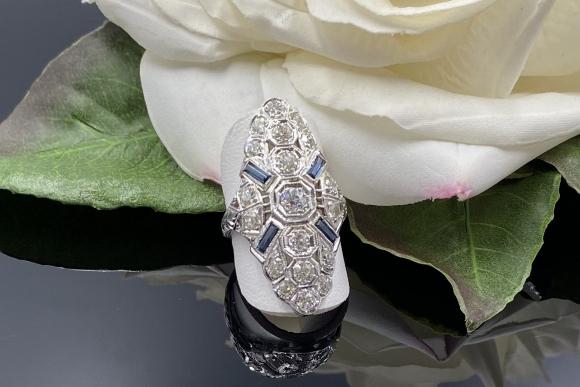 Art Deco 20K White Gold Filigree Old European Diamond Sapphire Dinner Ring