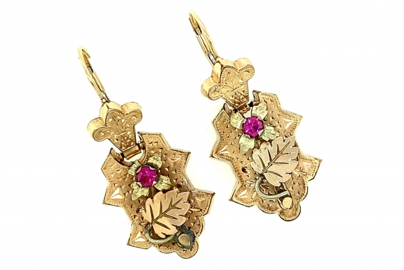 Victorian Rose Gold Ruby Earrings, 14K Ear Wires Gold Filled Dangle Earrings, Lab Created Rubies