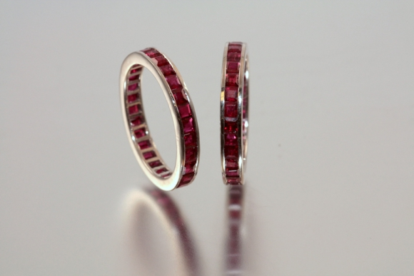 14K White Gold Ruby Eternity Bands