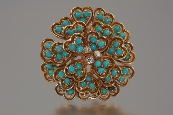 18K Turquoise & Diamond Brooch