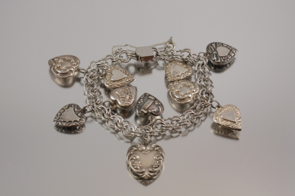 Vintage Sterling Puffy Heart Charm Bracelet