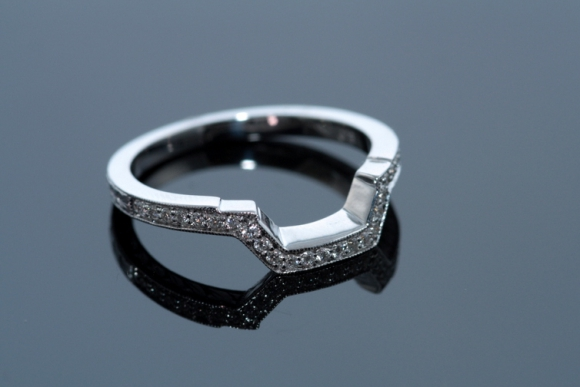 Custom Made Diamond Contour Wedding Band