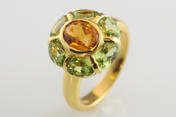 14K Citrine & Peridot Ring