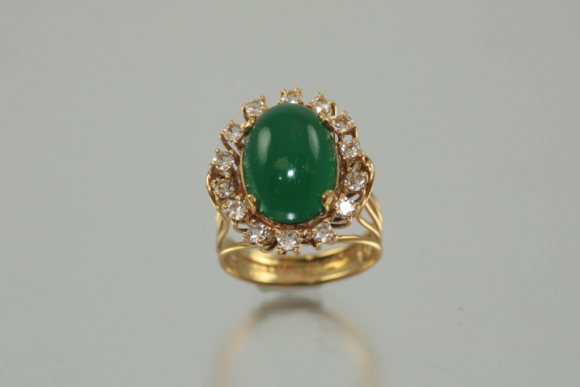 18K Green Chrysoprase Ring