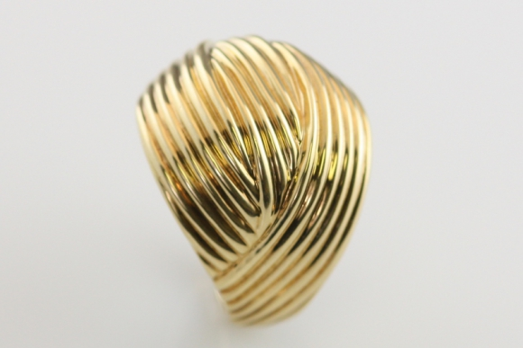 14K Ridged Dome Ring
