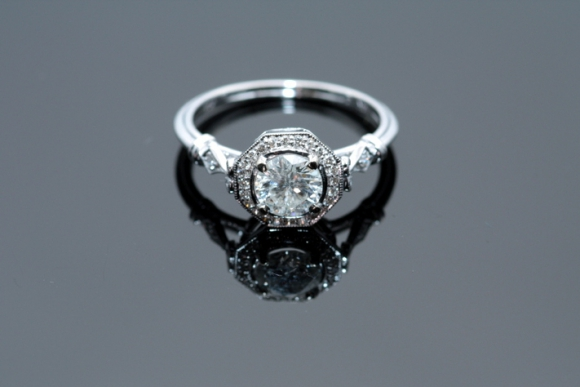 .75CT Round Brilliant Diamond Art Deco Style Engagement Ring