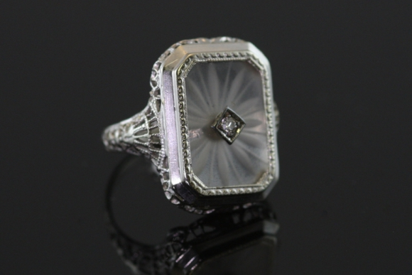 Edwardian Filigree & Rock Crystal Ring