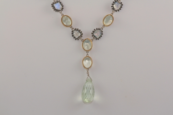 Striking Moonstone & Green Amethyst Necklace