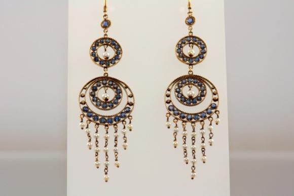 Sapphire & Pearl Shoulder Sweeper Earrings