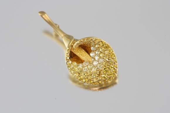 Golden Sapphire Calla Lily Brooch