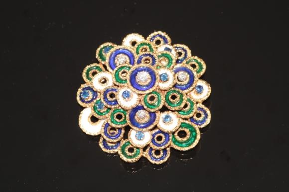 Estate Tiffany & Co. Enamel Sapphire & Diamond Brooch