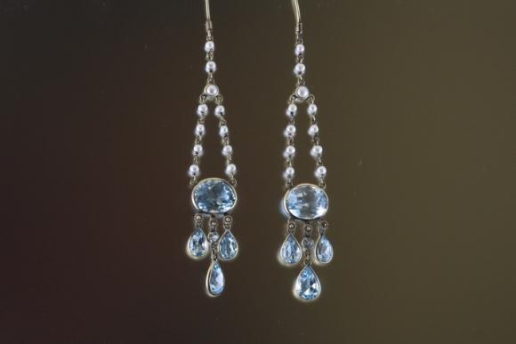 Blue Topaz & Pearl Dangle Earrings