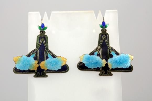 Fine Silver & Enamel Art Nouveau Antique Earrings