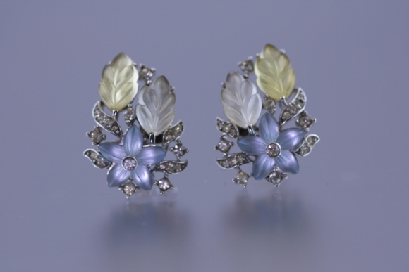 """Alfred Philippe"" Trifari Satin Fruit Salad Earrings"
