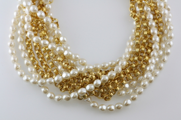 "Givenchy Multi-Strand ""Pearl"" & ""Gold"" Necklace"